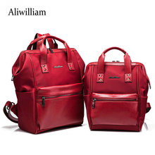 Aliwilliam Women's Leather Backpack Children Backpacks Fashion Ladies Schoolbag for Teenagers Girls Female Backbag 2 Size