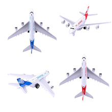 18cm Alloy Airplane Model Vehicles Kids Children Airliner Passenger Plane Pull Back Flashing Music Aircraft Toy XMas Gift(China)