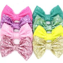 "23pcs/lot 23 colors Free Epacket/CPAP 5"" Big Sequin Messy Bow without clips, hair accessories(China)"