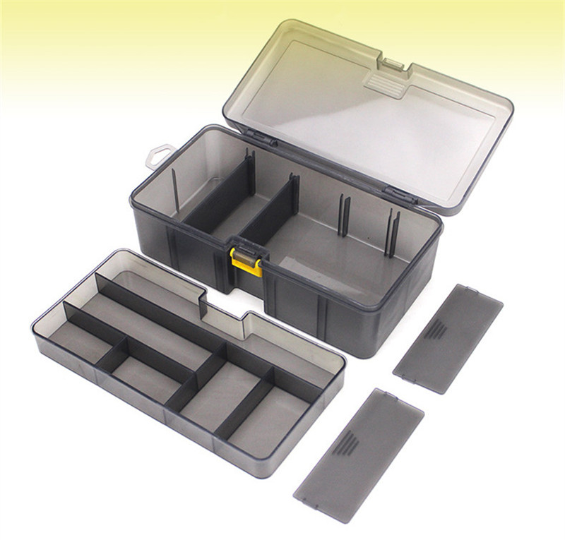 Double Layers Thickened Size Plastic Lure Fishing Box for Fishing Bait Tools Accessories Fishing Tackle Storage Box 21x12x6.5cm (1)