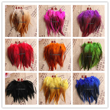 Free Shipping! Hot sale 50pcs/lot Color 4-6'' 9-15cm ROOSTER SADDLE CAPE CRAFT FEATHER for sinamay hat/party mask(China)