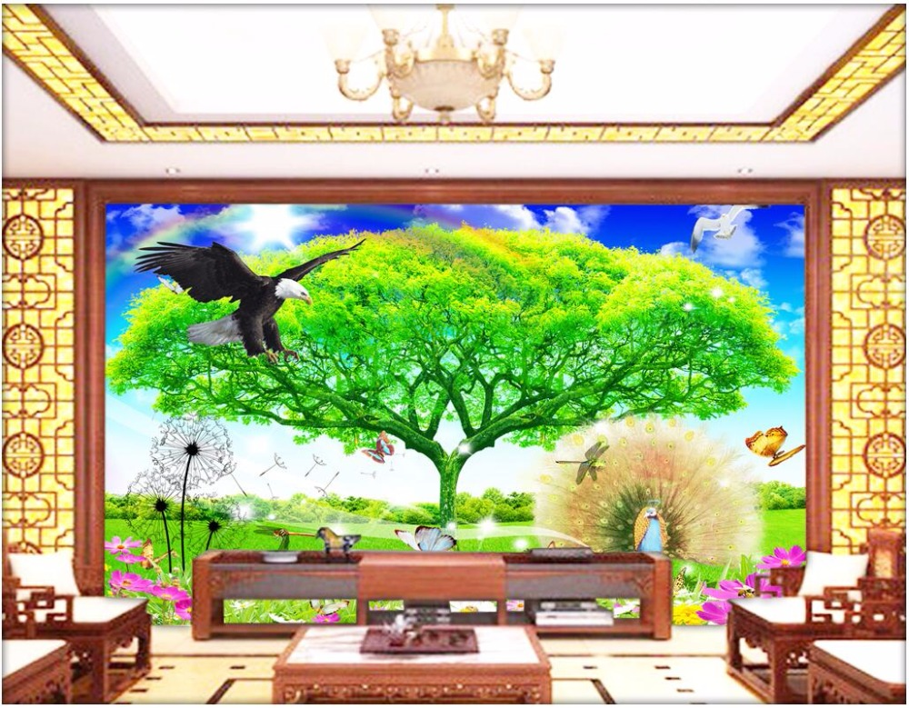 3d wallpaper custom photo tree the eagle peacock butterfly flower scenery decor painting 3d wall murals wallpaper for walls 3 d<br>