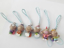 6pcs Mobile Cell Phone Strap - Little Boy Figure