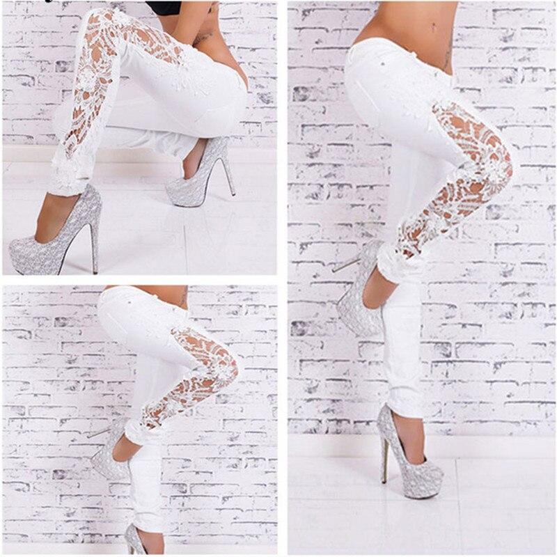 100% Cotton Women Jeans Ladies Lace Floral Splice High Waist Jeans Hollow Out Casual Womens Denim Pencil Pants Femme TrousersÎäåæäà è àêñåññóàðû<br><br>