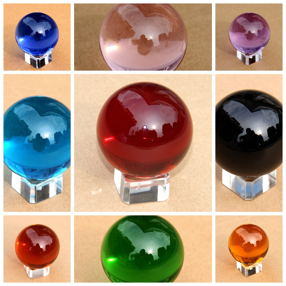 80mm 10pcs mix color feng shui crystals glass Ball crystal ball photography sphere decorative arts Home Decoration Accessories<br>