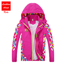 2018 Spring Childrens Jackets For Boys Brand Girls Outerwear Waterproof Windproof Hooded Windbreaker For 4-15Y Kids Girls Coats(China)
