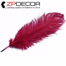 ZPDECOR Feathers 50pcs/lot 45-50cm(18-20inch) Hand Select Burgundy Ostrich Large Drab Wholesale Feathers for Wedding Decor(China)