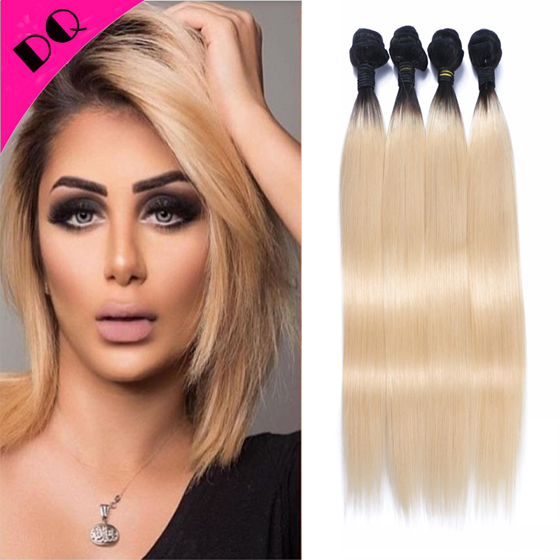 Top Grade 4 Bundles Brazilian Ombre Human Hair Brazilian Virgin Straight Hair Weave Color 1b/613 Brazilian Human Hair Bundles<br><br>Aliexpress