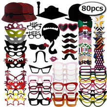 80pcs Wedding gift Photo Booth Props Decoration kids birthday Supplies Fun mask Party Favors just married bridal shower mr mrs