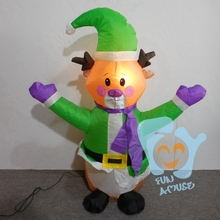 Funny Low Christmas New Year Decoration Lighted Inflatable Fat Santa Reindeer