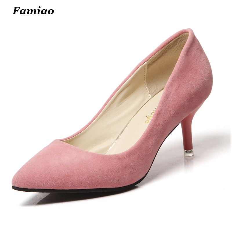 Sweet Stilettos High Heels Flock Leather Shoes Pumps Women Pointed Toe Office Lady Shoes<br><br>Aliexpress