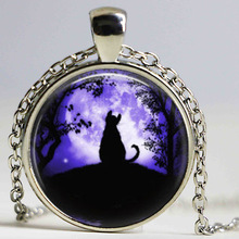 Cat Necklace Glass Tile Necklace Moon Jewelry Moon Necklace Black cat Pendant(China)