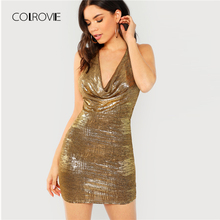 Buy COLROVIE Gold Solid Halter Backless Draped Sexy Dress Women 2018 Autumn Sleeveless Bodycon Club Dress Party Evening Mini Dresses