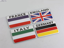2pcs Australia Russia France England Italy Germany United States Aluminum Flag Car Styling Stickers Decoration Car Accessory