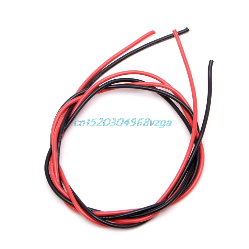 Wire Wiring Cables Flexible Stranded Copper Cables 1M red+1M Black Silicone 10/12/14/16/22/24/26 Gauge AWG For RC