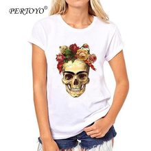 PERTOYO Fashion Women T-Shirt Slower Suger Skull Punk T Shirt Summer Tops For Female Clothing Hot Sale White Casual Women Tops(China)