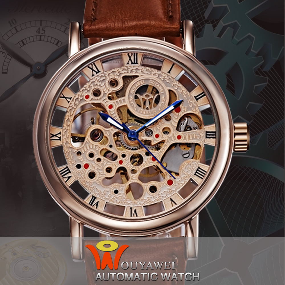 Ouyawei Automatic Self-Wind Mechanical Men Luxury Skeleton Silver/Gold Dial Leather Watchband Montre Homme Clock Wristwatch<br><br>Aliexpress