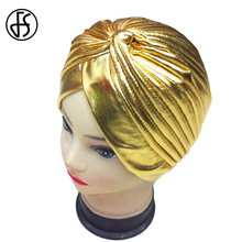 Summer Hat For Women Gold Elegant Fashion Turban Hijab  Hats Muslim Hat For Female Head Wrap Indian Caps