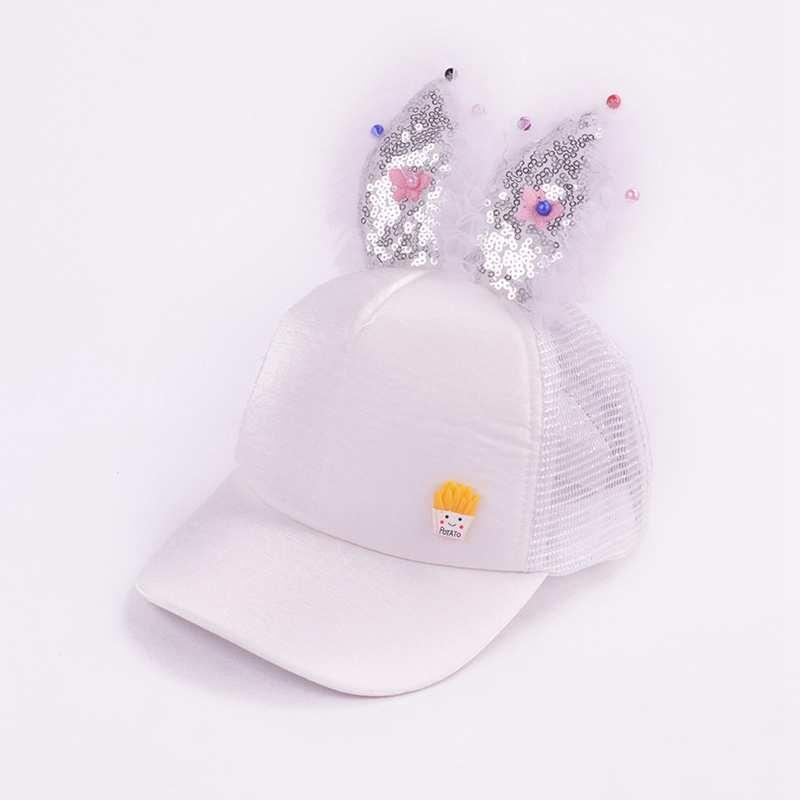 Girls' Clothing Children Hip Hop Baseball Cap Summer Rabbit Ear Bow Baby Sun Hat Lace Sequins Girls Mesh Snapback Caps