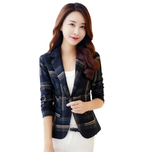 Buy Plus Size Ol Style Slim Blazers Jackets Fashion Blue Red Plaid Print Blazer 2018 Women One Button Blazer Suit Elegant Jacket for $13.37 in AliExpress store