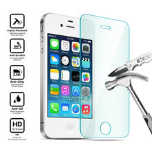 Premium 0.33mm 9H Tempered Glass Screen Protector For iPhone 4 4S Explosion Proof Clear Toughened Protective Film OPP Package