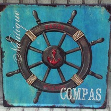 Helm Compas Large Metal Signs Vintage Metal Painting  Retro Iron Art  Wall Decor  tin Plate Square Wall Sticker 30x30cm