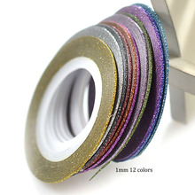 12Rolls/Set 1mm Laser 12 Colors Glitter Striping Tape Line Nail Art Tips Decals Beauty Decoration for Nail Art DIY LANC392