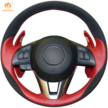 MEWANT Black Suede Red Leather Car Steering Wheel Cover for Mazda 3 Axela 2013-2016 Mazda 6 Atenza 2014-2017 Mazda 2 2015-2017