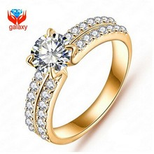 18K Real Gold plated 2015 New Trendy Top Quality 1.25ct CZ Diamant Engagement & Wedding Rings For Women Jewelry Wholesale ZR0022