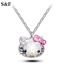 2017 Korea CC Rainbow Anime Girls Love Cat Crystal Pink Cute Hello Kitty Pendants Necklaces Fashion Cat Jewelry for Women Gift