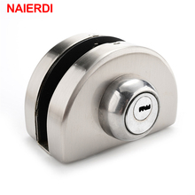 NAIERDI Single Glass Door Lock 304 Stainless Steel Double Open Frameless Door Hasps For 10-12mm Thickness Furniture Hardware