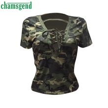 CHAMSGEND Good Deal New  Fashion Women Short Sleeve Shirt Slim Casual  T-shirt Camouflage Print Tops 1PC_U00442