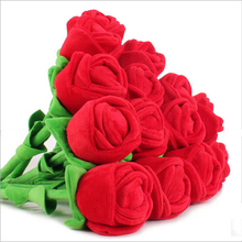1 pc 35cm Plush rose flower massage stick high quality wood inside romantic gift sweet home decor best gift for girls kids toy(China)