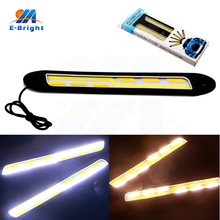 3Pairs/6pcs White and Amber Flexible COB 56 SMD Led SILICA DRL Daytime Running Light Turn Signal Car Driving Lamps Free Shipping(China)