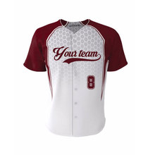 Hot Sale Button Down Baseball Jersey 100% Polyester Featuring Baseball Jersey Professional Custom Team Wear For mens For Youth