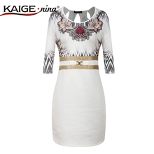 KaigeNina New Fashion Hot Sale Women Sheath leopard Three Quarter O-Neck Knee-Length 1866#-3-5-7 bodycon dress(China)