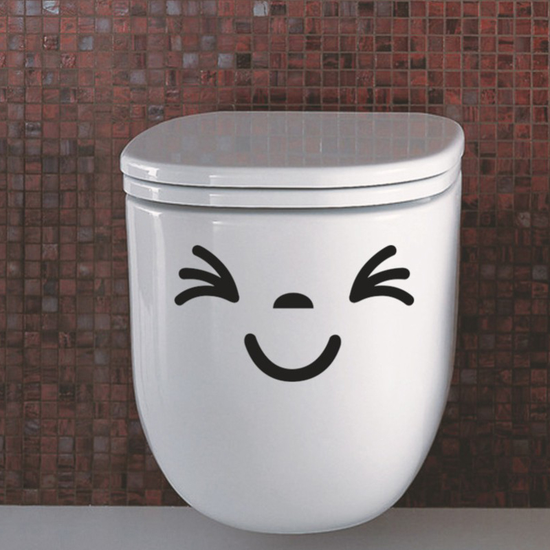 EHOME Smiley Face Wall Stickers Toilet Waterproof Vinyl Art Decals Laptop Glass Bathroom Wall Tile Sticker(China (Mainland))