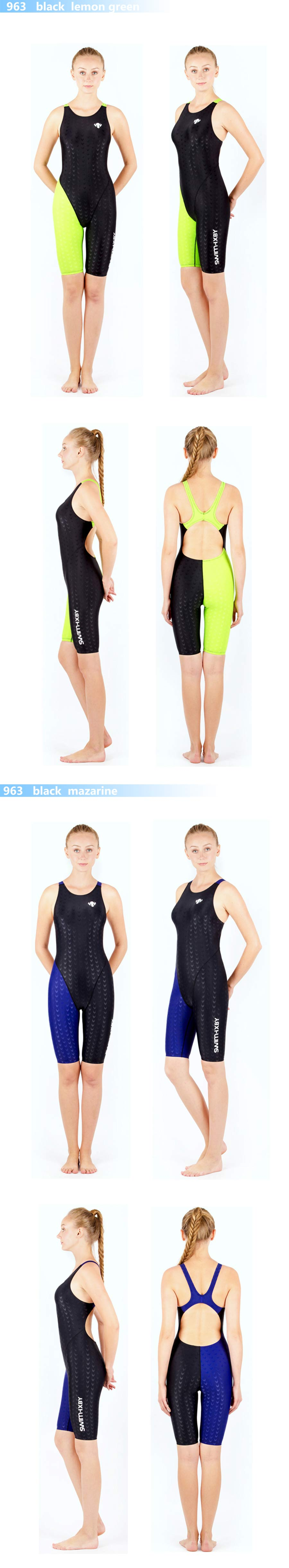 HXBY swimwear girls racing swimsuits sharkskin professional swimsuits knee one piece competition swim suits one piece 4