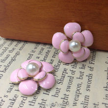 "20MM 20pcs "" Pink camellia flower  "" (No Hole)Glass Pearl & Glazing KC Gold Alloy Pendants Jewelry Charms"