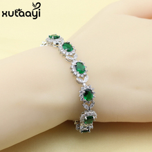 New Flower Green Imitated Emerald White Crystal Sterling Silver Jewelry Overlay Adjustable Link Chain Bracelet Length 18+3 cm