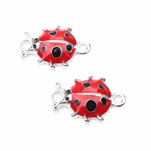 6pcs/lot Fancy Ladybug Charms Pendants Alloy Pendant Fit for Women Bracelet & Necklace jewelry accessories Making(China)