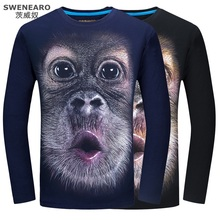 SWENEARO Orangutan 3D Men Shirt Autumn Long Sleeve Men T-shirt Casual Man Tees Mens Tops Underwear Hiphop Shirt Teenager Clothes