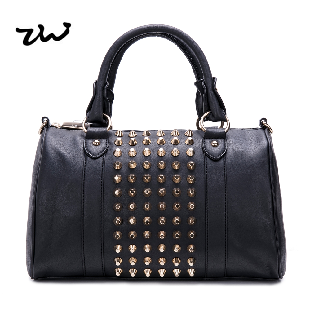 ZIWI stud  rivet shoulder bags for women solid color  zipper closure fashion soft  leather ladies handbags high quality VK1317<br>
