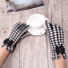 Pretty Stylish Black and white butterfly knot Winter Hand Arm crochet Knitting Wool Mitten Fingers Glove winter gloves