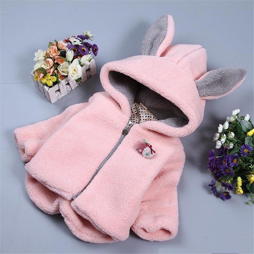 2017 The children girls cotton-padded clothes garments Winter child lambs wool pink rabbit ears and mian coatОдежда и ак�е��уары<br><br><br>Aliexpress