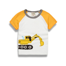 Children's Clothing Girls and boy T-shirt 2017 Summer New Western style Cartoon car of Short sleeve and round neck top