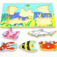 Fishing Puzzle 3D Wooden Toys For Toddlers Kids Children Educational Toys Hot