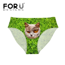 FORUDESIGNS Funny Women Sexy Panties Green Grass Cat Pussy Printed Girl Underwear Ultra-thin Lingerie Seamless Briefs Plus Size(China)