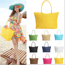 2017 Hot New Design Straw Popular Summer Style Weave Woven Shoulder Tote Shopping Beach Bag Purse Handbag Gift FreeShipping N770(China)