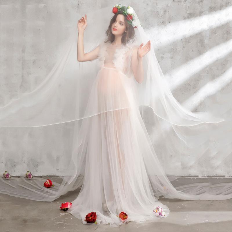 Women Dress Pregnancy Romantic Lace Dress Headwear&amp;Veil Flower Maternity Photography Props Set 4pcs Pregnant Women Elegant Props<br>